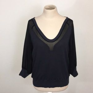 French Connection Sheer 3/4 Sleeved Sweater